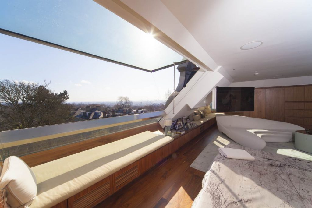 Large open window at the top of home in London