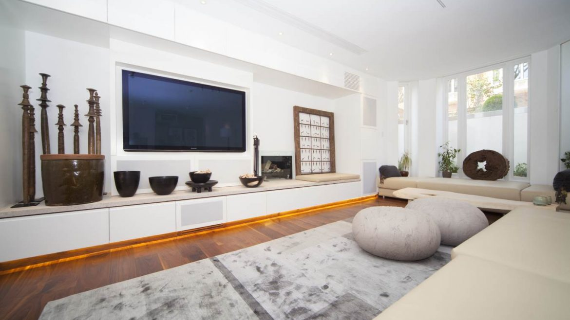 Living area featuring modern design and artwork