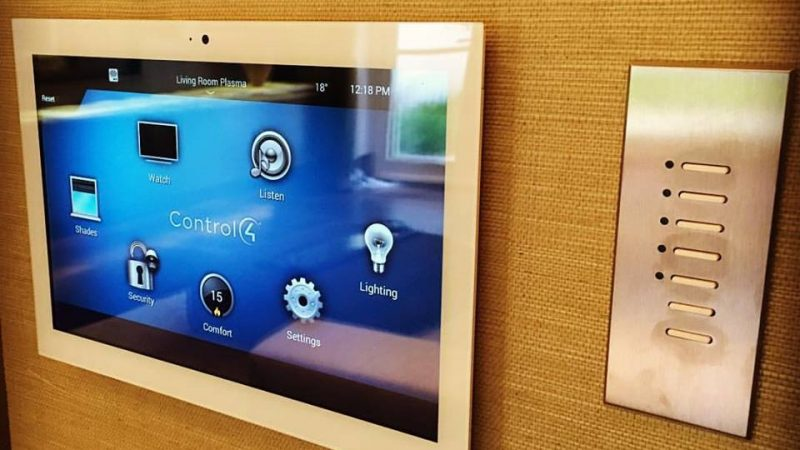 View of Control4 control panel for smart garden systems