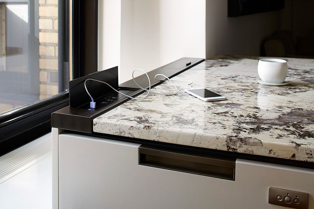 Home Kitchen Interior Design by MDfx Within mobile usb charging station hidden in carrera marble countertop