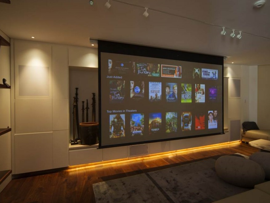 home cinema room designed by MDfx including automated lighting 2