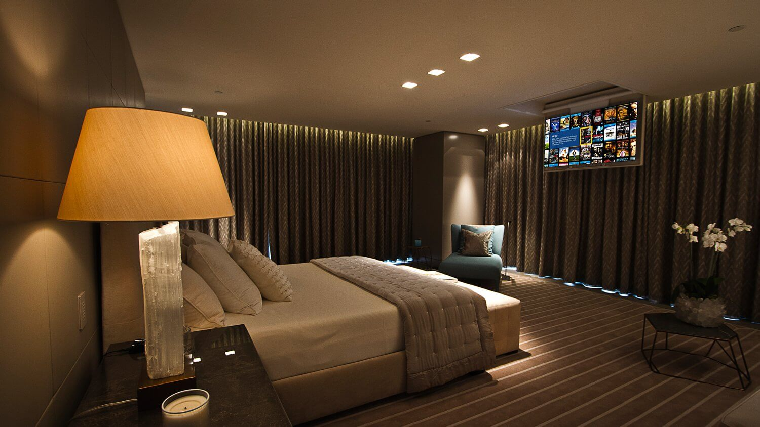 luxury yachts Interior Design by MDfx luxury bedroom on yacht with concealed tv in ceiling