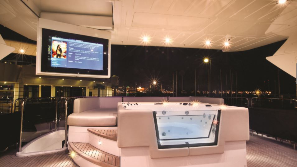 luxury yachts Interior Design by MDfx luxury on-board cinema with outdoor jacuzzi and ocean views