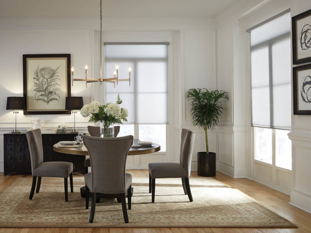 Lutron Electric Blind Automated Blinds and Shades in dining room
