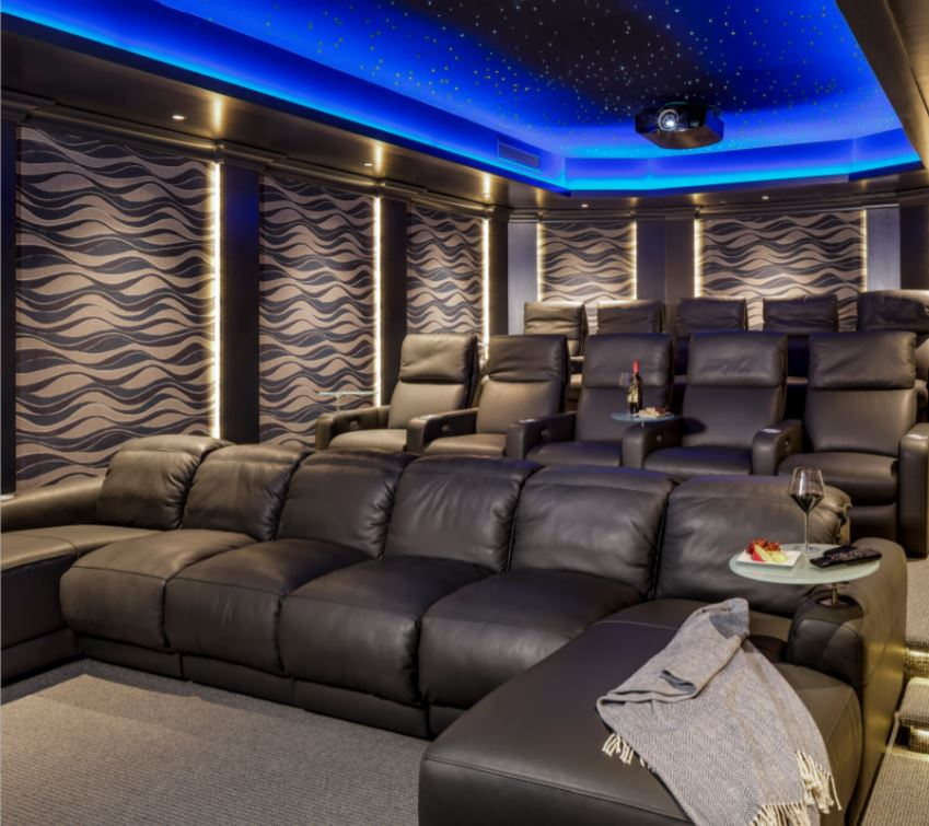 MDfx Within Bespoke Home Cinema Design & Installation big screen acoustic panels and bespoke seating