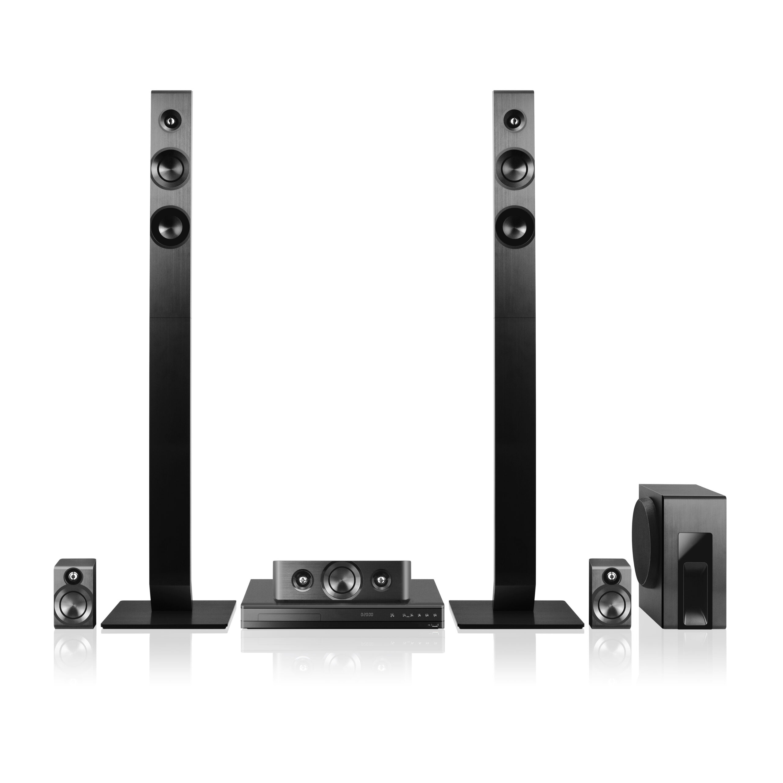 Home Theater Receiver and Speaker System Isolated. Side View 3D Home Cinema Entertainment System. Data Surround Speakers. Acoustic Audio Stereo Sound 5.1 Channel Output. Household Electrical Equipment