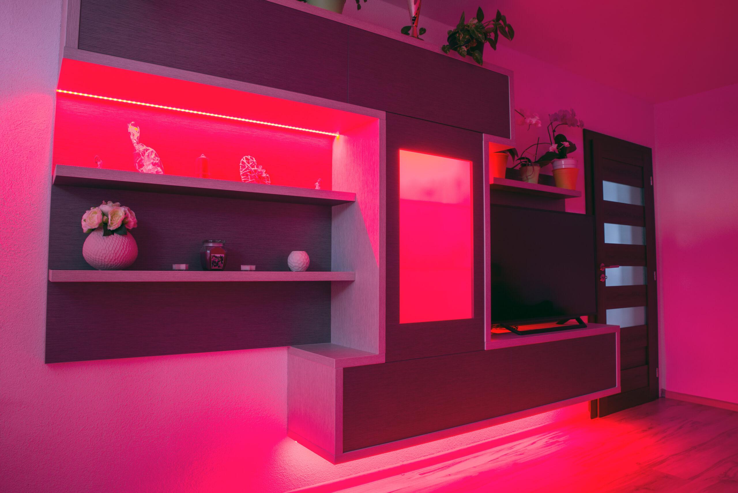 Modern designed furniture in living room with led backlight