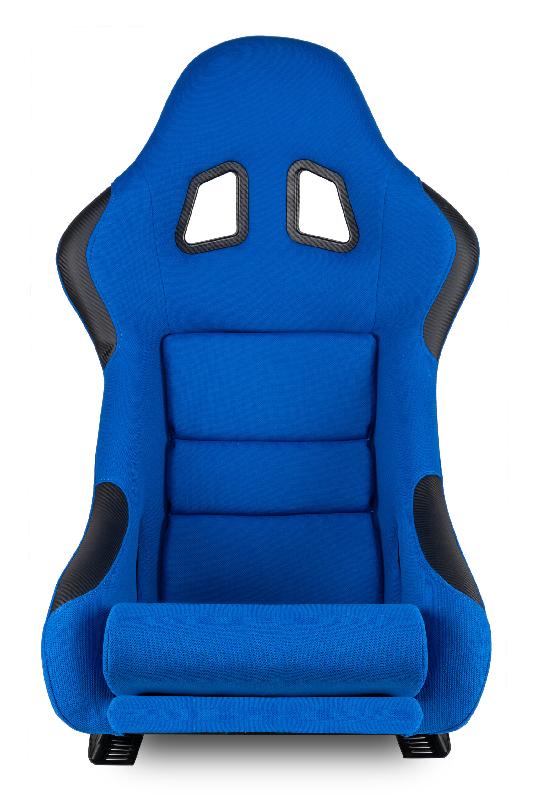 blue black carbon fiber motorsport race car tuning sim racing bucket seat isolated white background