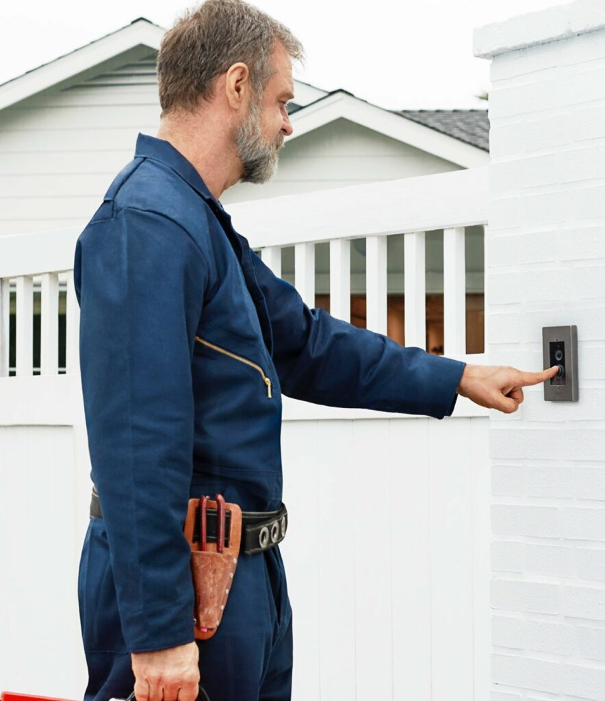 Man installing Ring X-Doorbell-smart-home-security---installed-by-MDfx-within