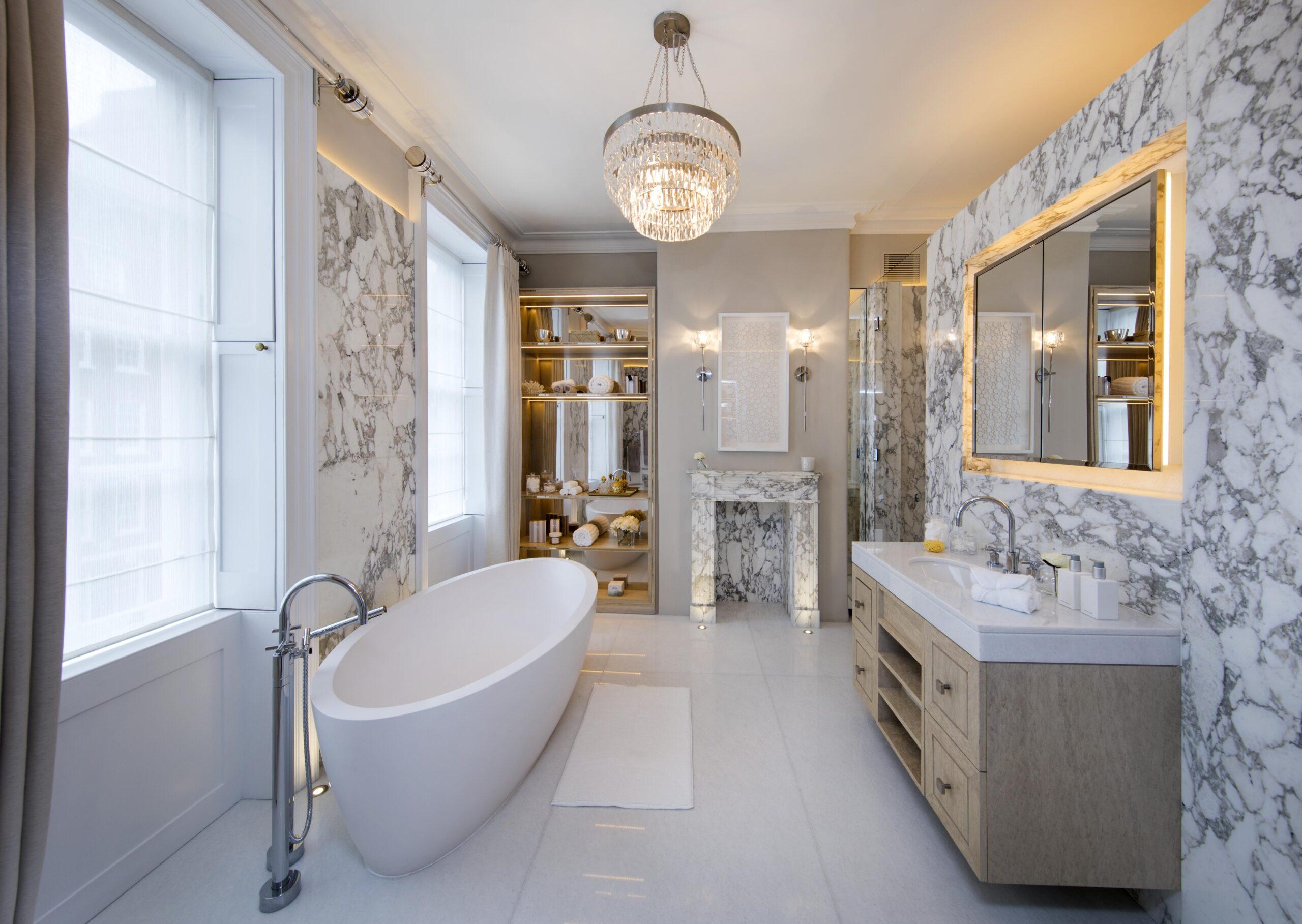 Smart lighting and AV install in luxury bathroom in London