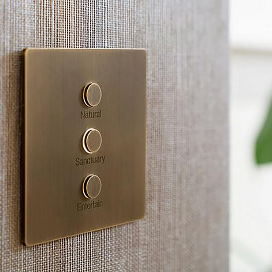 Alisse lutron keypads brushed brass with personal engraving on it.