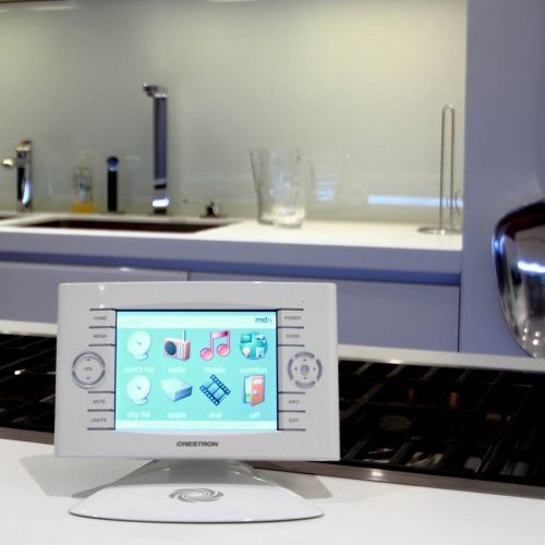 control4 os3 smart home device on kitchen counter